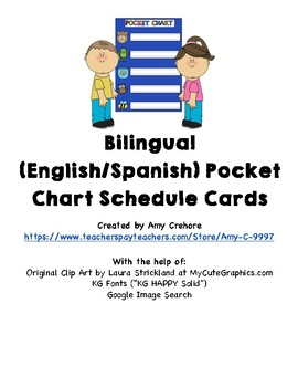 Bilingual (English/Spanish) Schedule Cards for Pocket Chart