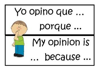 Bilingual (English/Spanish) Sentence Starters by Love Teach Sparkle