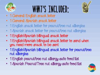 Bilingual English/Spanish Snack Letter Bundle
