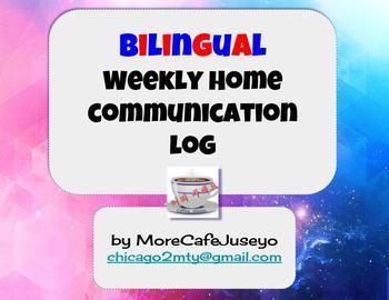 Bilingual (English/Spanish) Weekly Home Communication Log - Editable