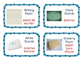 Bilingual English/Spanish literacy center labels