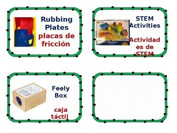 Bilingual English/Spanish science center labels