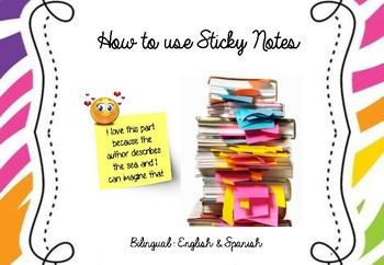 Bilingual English and Spanish. How to use sticky notes in reading