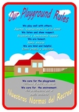 """Bilingual English and Spanish """"Our Playground Rules """"A2 Poster  ."""