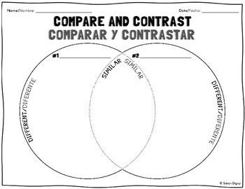 Bilingual English and Spanish Venn Diagram Compare & Contrast Worksheet