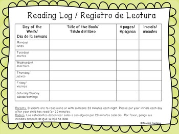 Bilingual (English and Spanish) Weekly Reading Log for K and First Grade