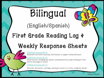 Bilingual (English and Spanish) Weekly Reading Log for K a
