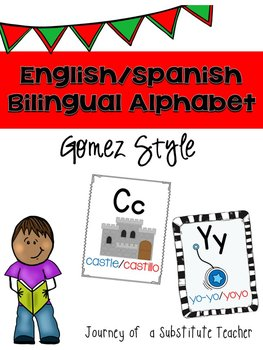 Bilingual English/Spanish Alphabet Posters Set In Gomez Style