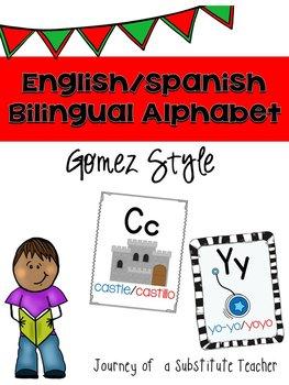 Bilingual English/Spanish Alphabet Posters Set In Gomez Style