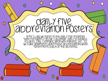 Bilingual English/Spanish Daily Five Posters and Abbreviations