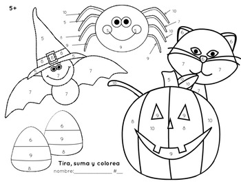 Bilingual English/Spanish Halloween/Fall Roll & Color 5+