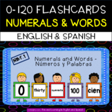 English (Spanish included FREE) - Number Flashcards - 0-120 - Numerals and Words