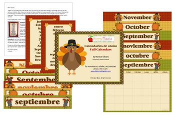 Bilingual Fall Calendars