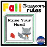 Bilingual Classroom Rules Bulletin Board Set in English & Spanish Fall Theme