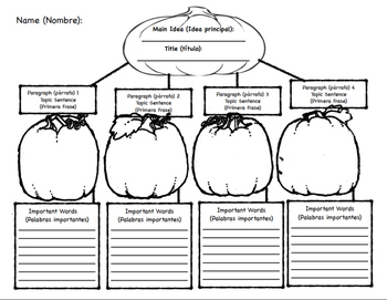 Bilingual Fall Themed Graphic Organizer for Main Idea and Supporting Details