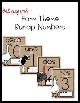 Bilingual Farm Burlap Numbers