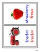Bilingual Farm Vocabulary flashcards (English-blue, Spanish-red)