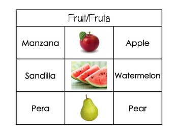 Bilingual Flash Cards (English/Spanish): Food
