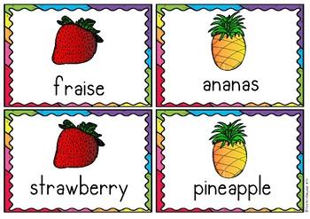 Bilingual Flashcards Français - English The Fruits French
