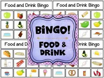 Bilingual Category Bingo: Food and Drink Flashcards & Games in English & Spanish