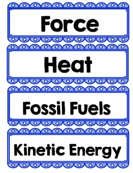 Bilingual Force & Motion Word Wall Cards
