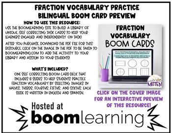 Bilingual Fraction Words Boom Cards