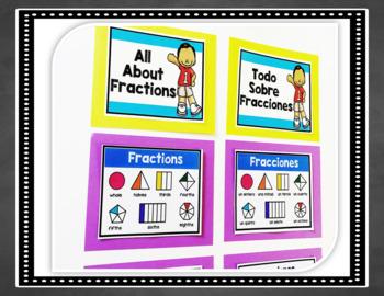Bilingual Fractions Anchor Charts Bulletin Board Set in English & Spanish