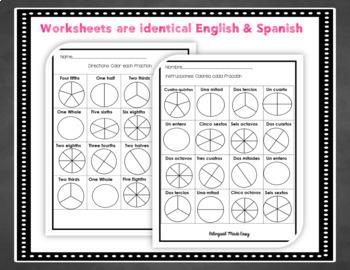 Bilingual Fractions Bundle in English & Spanish