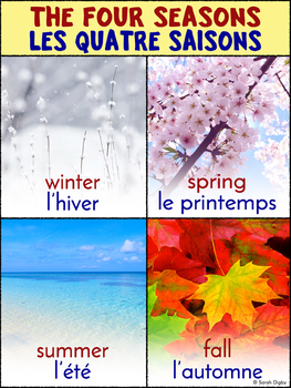 Bilingual French-English Four Seasons/Quatre Saisons Poster