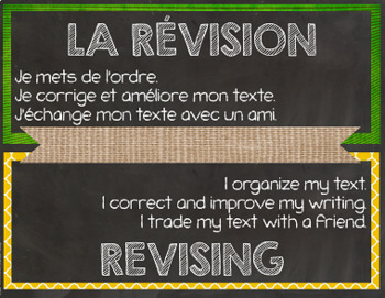 Bilingual (French, English) Writing Process Posters - Burlap,Chalkboard, Brights