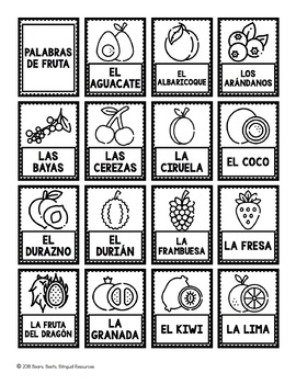 Bilingual Fruit Word Cards