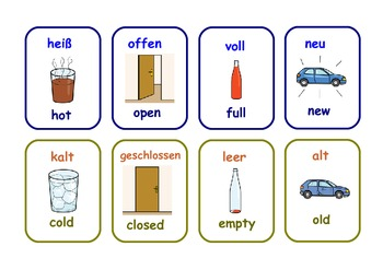 Bilingual German/English  opposites  flashcards .23 pairs .6 pages .
