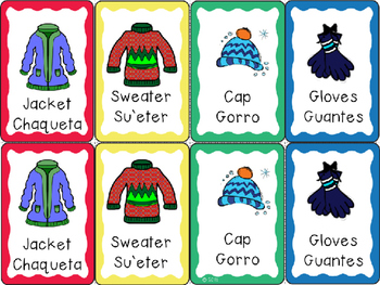 Bilingual Go Fish Game for Clothing