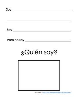 Bilingual Guess Who writing activity Spanish and English