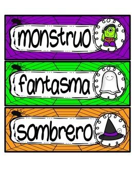Halloween ABC order activity: English and Spanish version