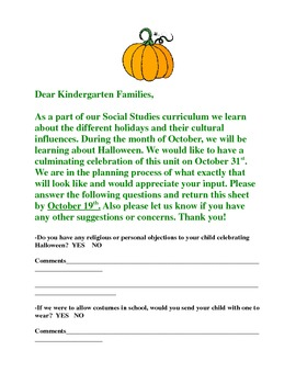 Bilingual Halloween Celebration Parent Letter