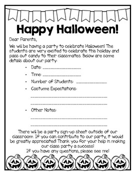 Bilingual Halloween Party Note