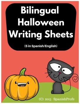 Bilingual Halloween Writing Sheets (English & Spanish)