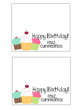Bilingual Happy Birthday Paper Bag Toppers