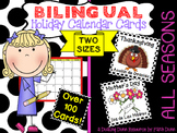 Bilingual Holiday Calendar Cards in English and Spanish