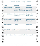 Bilingual Homeschool Preschool Routine Chart Spanish-English