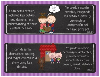 1st Grade Common Core Standards - ELA - Bilingual