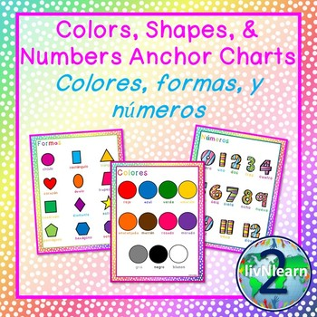 Bilingual Illustrated Posters: Colors, Numbers, and Shapes (Spanish & English)