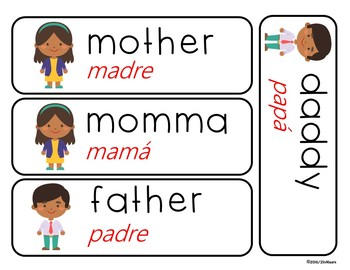 Bilingual Illustrated Word Wall Cards: Family (Spanish & English)