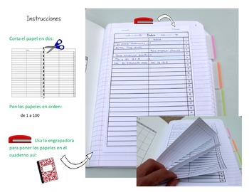 Bilingual Interactive Notebook Table of Contents / Índice