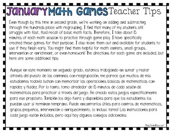Bilingual January Math Games {English and Spanish)