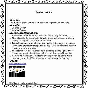 Bilingual Journal for Secondary Students/English and Spanish Bundle
