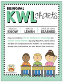 Bilingual KWL Graphic Organizer Charts for ELLs (Spanish-English)