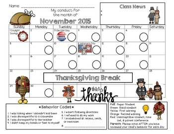 Bilingual Kinder Behavior Calendar {November 2015}