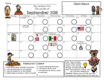 Bilingual Kinder Behavior Calendar {Sept 2015}
